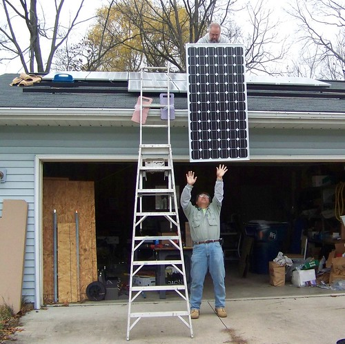 Up goes a solar panel