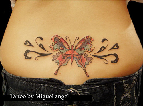 butterfly tattoo lower back. lower back butterfly tattoo