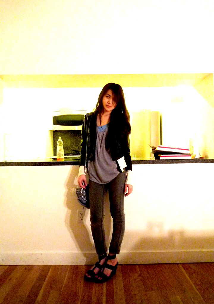 silence + noise leather jacket, cheap monday jeans, club monaco cardigen, eryn brinie, alexander wang, donna karen collection