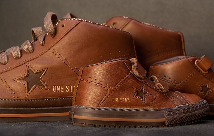 zo vader zo zoon, Converse One Star Mid Brown, jr. + sr.