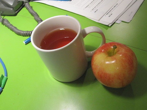 tea and an apple from the bistro - free