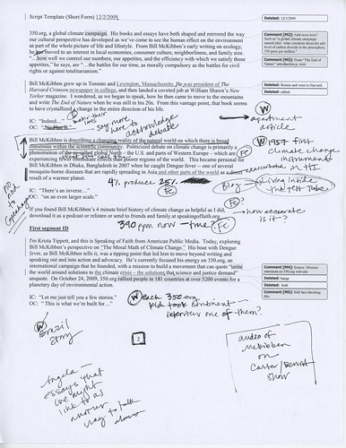 Page of Annotated Script for ""