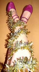 365 ~ Day 53 ~ FUTAB (CassiePawpads) Tags: christmas autumn home shoes december alone highheels legs cassie tinsel 365 day53 purpleshoes itsbeginningtolookalotlikechristmas 365days threesixtyfive futab feetuptakeabreak christmaslegs