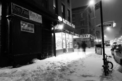 Slope in Snow (pexy) Tags: nyc nightphotography winter blackandwhite white ny newyork motion building window monochrome car sign shop brooklyn night season photography lights nikon shot stock suburbia parkslope peaceful calm latenight tokina nighttime nightshots gothamist lightning 16mm 4thavenue stockimages 4thave longexosure d300 stmarksave stockphotogrpahy nikond300 tokina1116 pexy davidpexton authordavidpexton