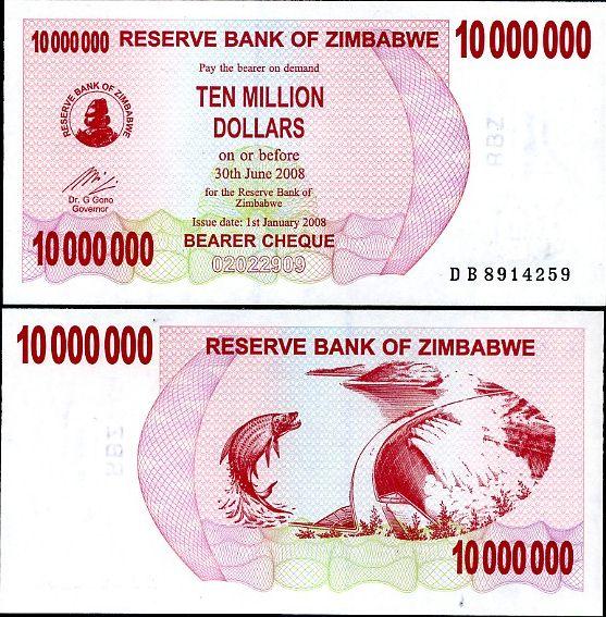 10 miliónov dolárov Zimbabwe 2008, bearer check