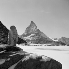 Matterhorn (boscoppa) Tags: bw mountain lake snow 120 6x6 film zeiss switzerland frozen delta matterhorn riffelsee ikon ilford nettar