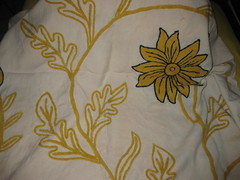CHAIN STITCH EMBROIDERY (RubyGoes) Tags: flowers india black leaves yellow beige needlework stitch indian cream chain stems kashmir ari bedspread kashmiri crewel khadi counterpane khaddar
