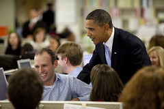 President Obama and First Lady Michelle Obama Visit the Disaster Operations Center