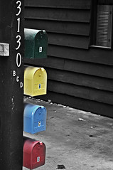 Boxes of Color (N.Firmani) Tags: blue red house green yellow delete10 contrast mailbox delete9 concrete delete5 delete2 delete6 delete7 delete8 delete3 delete delete4 desaturated siding bcd primarycolors selectivecolor usmail 3130 deletedbydeletemeuncensored