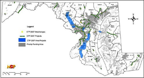 Maryland's 'priority funding areas' are in gray (by: MD Dept of Planning)