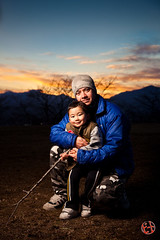 Strobist play (Me & my boy) (Shenanigans in Japan) Tags: family sunset nature japan radio canon outdoors father release son hong kong delight shutter link infrared wireless prefecture fukushima rc1 triggers stobist blazzeo
