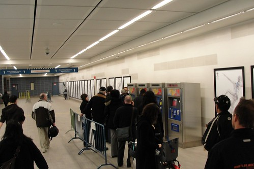 Queues at ticket dispensing machines will slow you down en route to venues