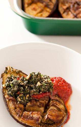baked eggplant with tomato & pesto