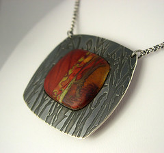 Polymer Clay and Etched Sterling (metalartiste) Tags: necklace polymerclay naftali sterlingsilver artjewelry etchedmetal