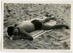 1940s Man Shirtless Beach Recline Sleep Swim Trunks Squarecut Speedo (Christian Montone) Tags: shirtless men swimming outdoors briefs pools beaches recreation speedo swimsuit swimtrunks squarecut