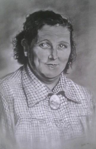 Le portrait de ma grand-mère au fusain et à la craie, fait par Thierry Dacq