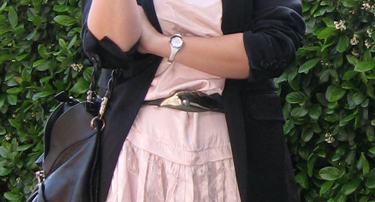 pink dress black blazer, vintage belt
