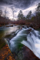 Late Winter Boktuklo Creek (tobey308) Tags: trees oklahoma creek forest canon reflections flow waterfall rocks overcast stormy streams toddtobeyphotography