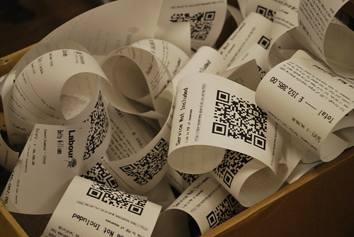 Close-up of the receipts spooling out