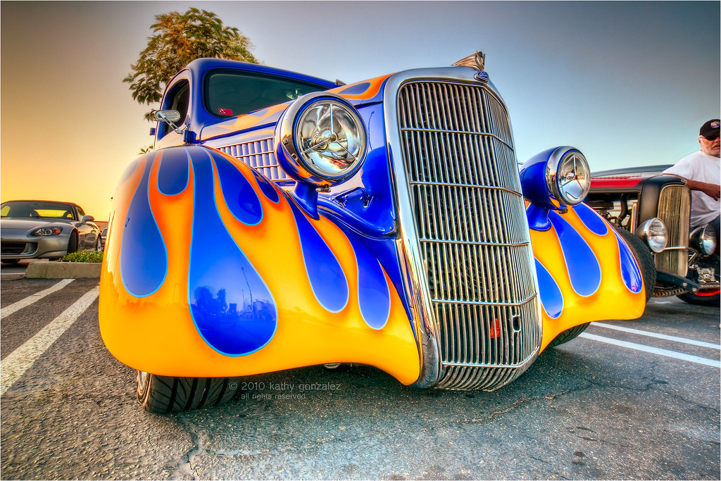 fiery 1935 ford coupe