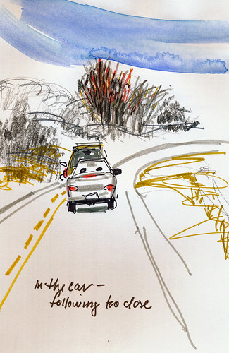 In the car sketching, following too close