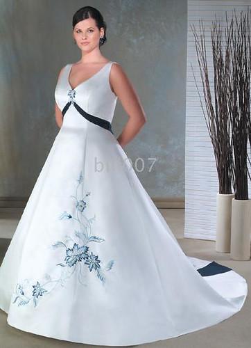 V-neck Chapel Train Satin Plus Size Bridal Gowns