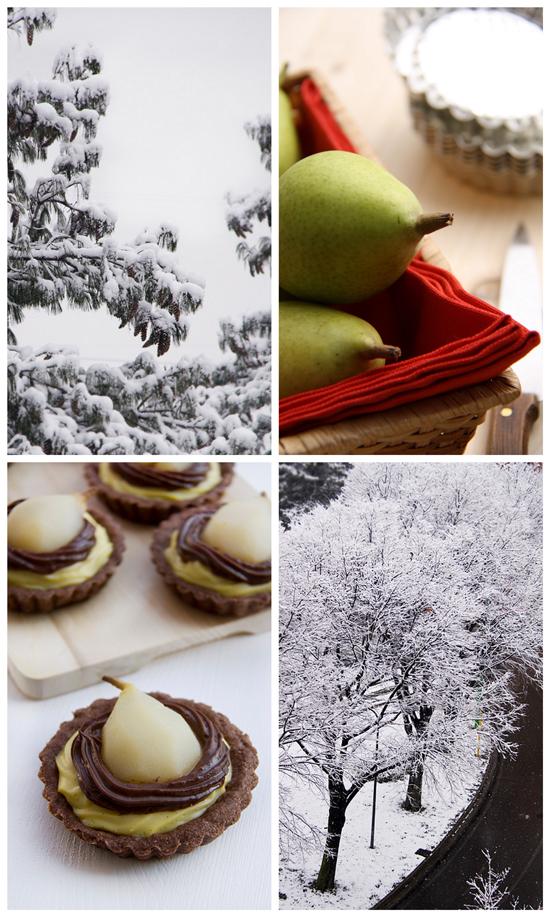 Collage tartelette alle pere e neve