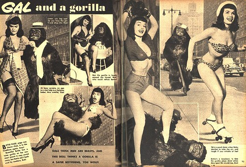 GAL AND GORILLA - Betty Page and ape