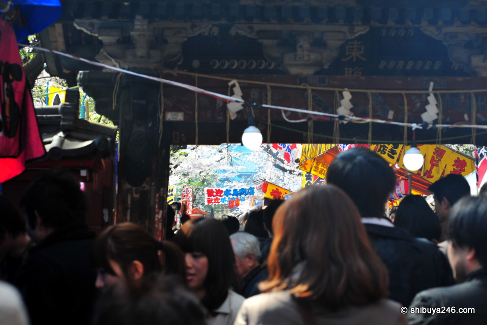 You can see the colorful image of the festival food stalls set up through the dark wood of the outer gate.