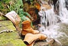 Dip into the cool (Maddie Joyce) Tags: blue wild green film nature water pool hat rock canon vintage relax waterfall nap peace boots sleep steps feather free adventure cave themagicbus wwwthemagicbuscollectivecom maddiejoyce