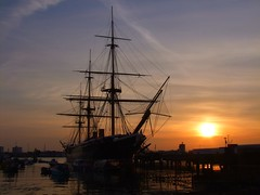 Warrior Sun (simon.cullen) Tags: sunset ship portsmouth sail portsmouthharbour hmswarrior historicship