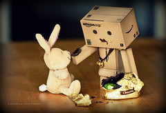 The Neverending Easter (Sandrine Escamilla) Tags: rabbit toy japanese robot chocolate eat manger eggs feed figurine jouet lapin easterbunny chocolat oeufs yotsuba danbo revoltech danboard