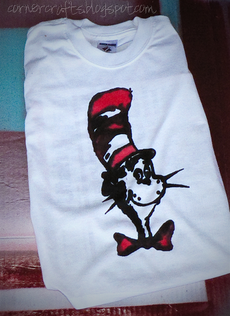 dr seuss freezer paper stencil cat in the hat shirt mess spread