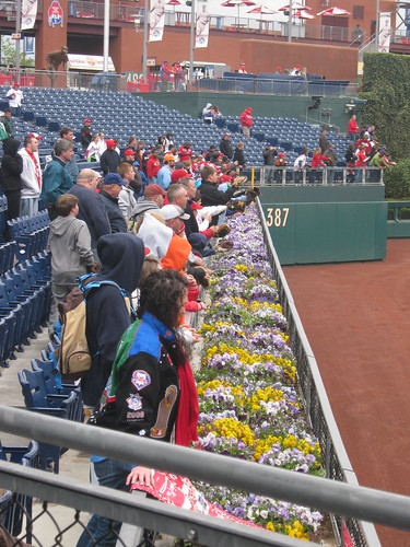 Flowers in right field at Citizens Bank Park