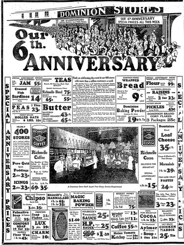 Vintage Ad #1,089: Dominion's 6th Anniversary Sale, 1925