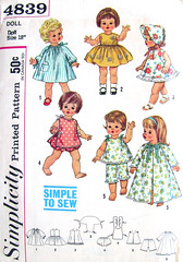 Simplicity 4839 Doll Clothes Pattern (~ finicky ~) Tags: uncut sewing 1960s etsy collectibles artfire dollclothes vintagepattern chattybaby simplicity4839 finickyfinds suziesunshine