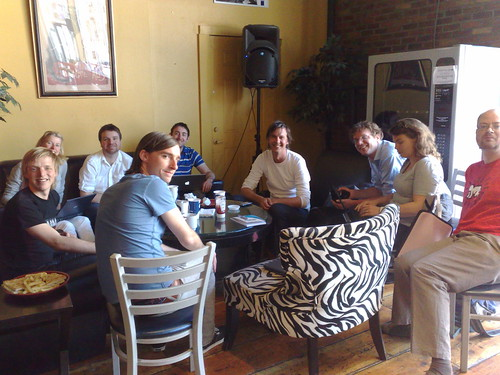 Photo of unconference participants in cafe