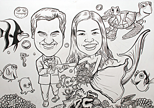 underwater Mermaid wedding couple caricatures A1 siez -ink