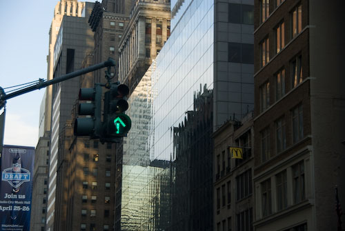 Green arrow traffic signal in NYC