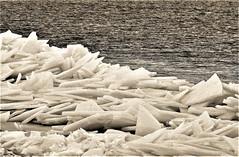 Breaking the Ice (Jan Nagalski (off for awhile)) Tags: ice water lake winter lakestclair michigan jannagal jannagalski bw blackandwhite monochrome diagonal