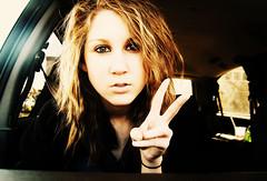 I wish peace was possible. (ShoeStringEater) Tags: portrait black color girl car female photoshop self peace courtney sp kelley seatbelt kourtnee