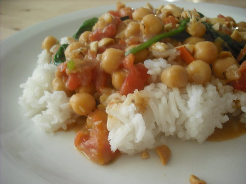 Coconut-Peanut Chickpeas and Vegetables