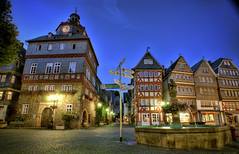 Herborn Market Place in Germany (Werner Kunz) Tags: night evening hessen herborn lahndillkreis werner kunz werkunz1 nikond90 nikon wideangle world travel trip vacation holiday germany europe deutschland german deutsch europa market marketplace street fountain fachwerk houses city town lights yellow photoshop hdr photomatix topazadjust colorefex longexposure speed time exposure cozy small urban explored 20fav ultrawide lens building architecture hdri dri 20 fav 40