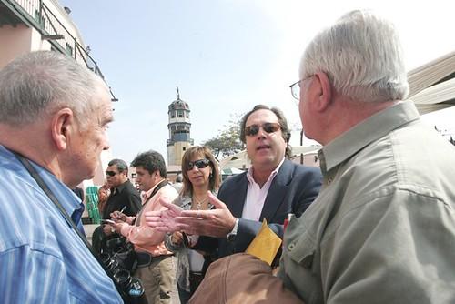 Periodistas taurinos antes de la novillada en Acho