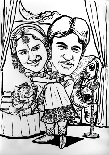 Traditional Indian wedding couple caricatures in ink