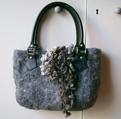 grey felt bag (1) (creationsbyeve) Tags: bag grey europe felting handmade crafts gray felt yarn greece homemade handcrafted etsy artisan crafting handfelted handmadegifts handcraftedgifts europeanstreetteam leatherhandles creationsbyeve etsygreekteam