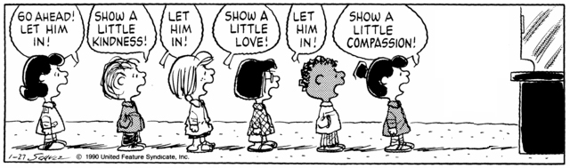 Peanuts Minus Snoopy with Lucy, Linus, Peppermint Patty, Marcie, Franklin, and Violet