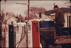 Imported Gasoline Was Available in Oregon During the Fuel Crisis of 1973-74 at Double the Cost of the Domestic Fuel 03/1974 (The U.S. National Archives) Tags: man station barrel pickup gas pump gasoline import fuel environmentalprotectionagency gasshortage documerica usnationalarchives nara:arcid=555502
