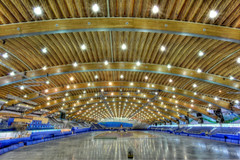 Richmond Olympic Oval - long track speed skating venue for the 2010 Olympic Winter Games - almost ready (janusz l) Tags: wood roof winter pine vancouver speed geotagged track skating beetle wave games richmond olympic questions hdr roo olympicoval 2010 janusz leszczynski 400meter geo:lat=49175069 geo:lon=123150182