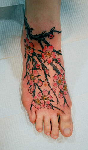Cherry Blossom Foot Tattoo by Colin Wiley